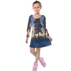 Winter Sunset Pine Tree Kids  Long Sleeve Velvet Dress