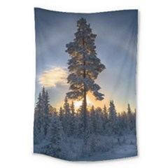 Winter Sunset Pine Tree Large Tapestry