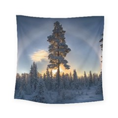 Winter Sunset Pine Tree Square Tapestry (small)