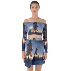 Winter Sunset Pine Tree Off Shoulder Top With Skirt Set