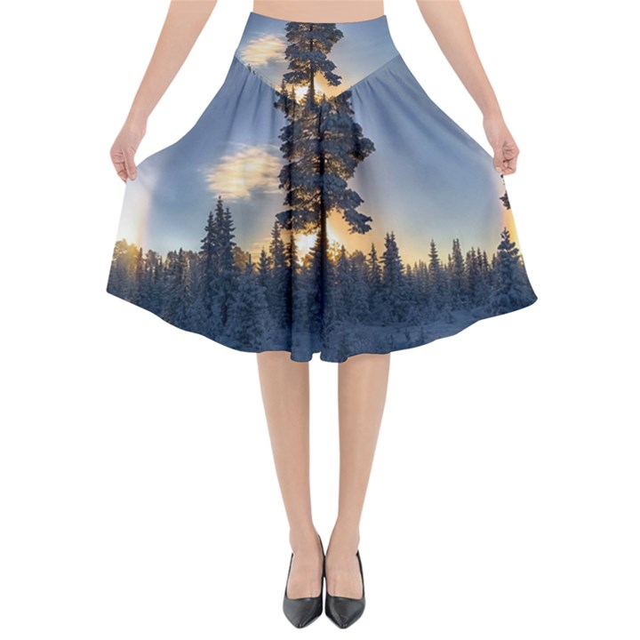 Winter Sunset Pine Tree Flared Midi Skirt
