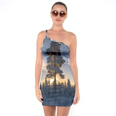 Winter Sunset Pine Tree One Soulder Bodycon Dress