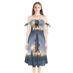 Winter Sunset Pine Tree Shoulder Tie Bardot Midi Dress by Alisyart