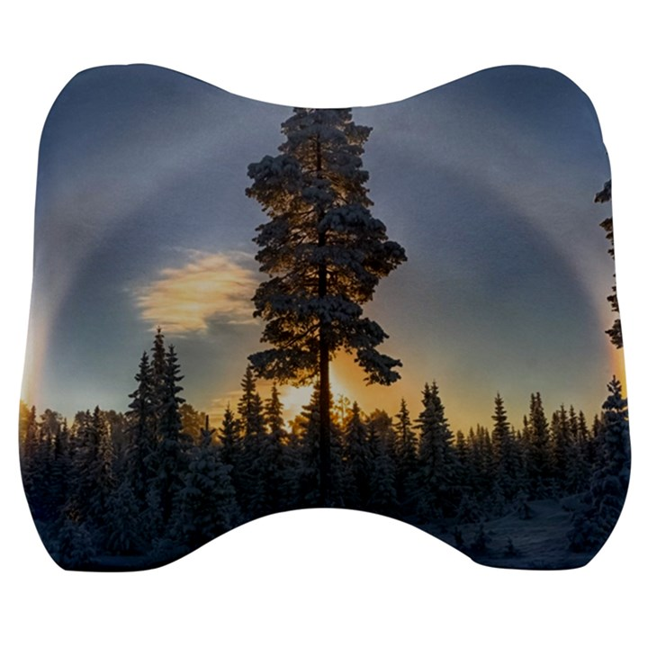 Winter Sunset Pine Tree Velour Head Support Cushion