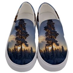 Winter Sunset Pine Tree Men s Canvas Slip Ons