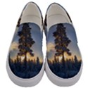 Winter Sunset Pine Tree Men s Canvas Slip Ons View1