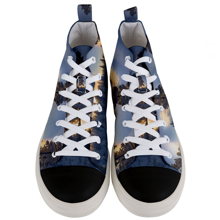 Winter Sunset Pine Tree Men s Mid-Top Canvas Sneakers