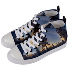 Winter Sunset Pine Tree Women s Mid-top Canvas Sneakers by Alisyart