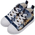 Winter Sunset Pine Tree Kid s Mid-Top Canvas Sneakers View2