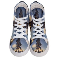 Winter Sunset Pine Tree Women s Hi Top Skate Sneakers