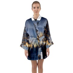 Winter Sunset Pine Tree Long Sleeve Kimono Robe
