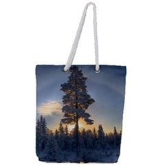 Winter Sunset Pine Tree Full Print Rope Handle Tote (large) by Alisyart