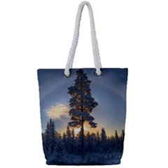 Winter Sunset Pine Tree Full Print Rope Handle Tote (small) by Alisyart