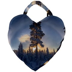 Winter Sunset Pine Tree Giant Heart Shaped Tote by Alisyart