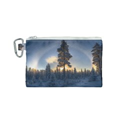 Winter Sunset Pine Tree Canvas Cosmetic Bag (small)