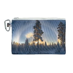 Winter Sunset Pine Tree Canvas Cosmetic Bag (large) by Alisyart