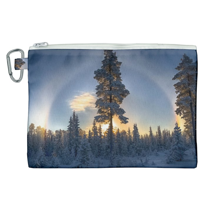 Winter Sunset Pine Tree Canvas Cosmetic Bag (XL)