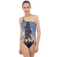 Winter Sunset Pine Tree Classic One Shoulder Swimsuit
