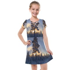 Winter Sunset Pine Tree Kids  Cross Web Dress