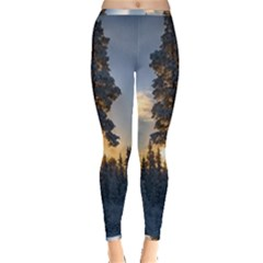 Winter Sunset Pine Tree Inside Out Leggings