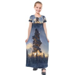 Winter Sunset Pine Tree Kids  Short Sleeve Maxi Dress