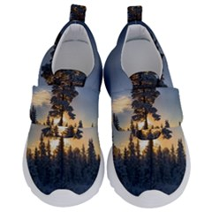 Winter Sunset Pine Tree Velcro Strap Shoes
