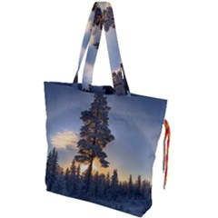 Winter Sunset Pine Tree Drawstring Tote Bag