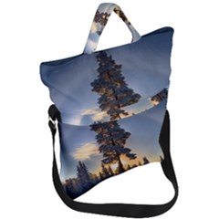 Winter Sunset Pine Tree Fold Over Handle Tote Bag