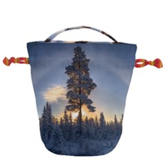 Winter Sunset Pine Tree Drawstring Bucket Bag by Alisyart