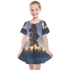 Winter Sunset Pine Tree Kids  Smock Dress