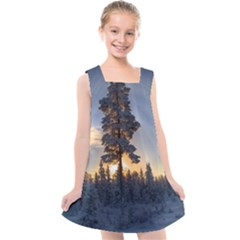 Winter Sunset Pine Tree Kids  Cross Back Dress