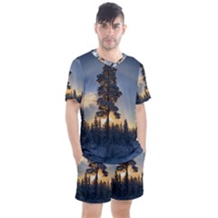 Winter Sunset Pine Tree Men s Mesh Tee And Shorts Set