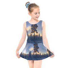 Winter Sunset Pine Tree Kids  Skater Dress Swimsuit