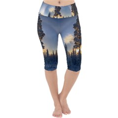Winter Sunset Pine Tree Lightweight Velour Cropped Yoga Leggings