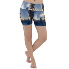 Winter Sunset Pine Tree Lightweight Velour Yoga Shorts