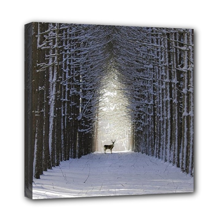 Trees Nature Snow Deer Landscape Winter Mini Canvas 8  x 8  (Stretched)