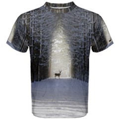 Trees Nature Snow Deer Landscape Winter Men s Cotton Tee
