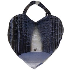 Trees Nature Snow Deer Landscape Winter Giant Heart Shaped Tote by Alisyart