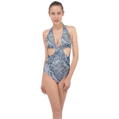 Marble Pattern Halter Front Plunge Swimsuit