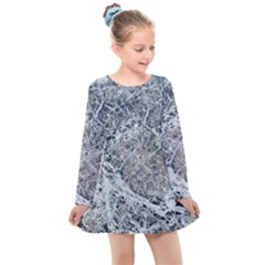 Marble Pattern Kids  Long Sleeve Dress