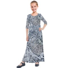 Marble Pattern Kids  Quarter Sleeve Maxi Dress