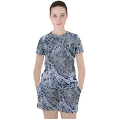 Marble Pattern Women s Tee And Shorts Set