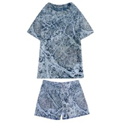 Marble Pattern Kids  Swim Tee And Shorts Set