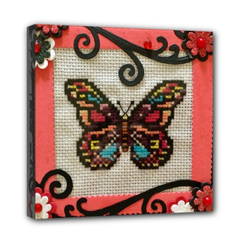 Cross Stitch Butterfly Mini Canvas 8  X 8  (stretched)