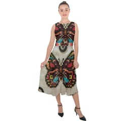 Cross Stitch Butterfly Midi Tie Back Chiffon Dress
