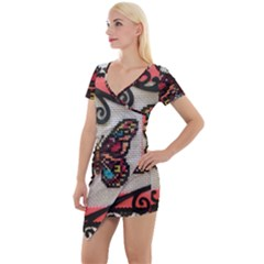 Cross Stitch Butterfly Short Sleeve Asymmetric Mini Dress by DeneWestUK