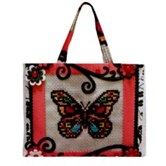 Cross Stitch Butterfly Zipper Medium Tote Bag