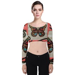 Cross Stitch Butterfly Velvet Long Sleeve Crop Top