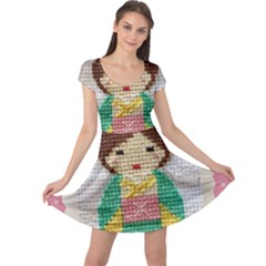 Cross Stitch Kimono Cap Sleeve Dress