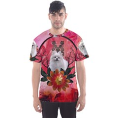 Cute Pemeranian With Flowers Men s Sports Mesh Tee